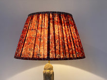 Load image into Gallery viewer, Raspberry and blue paisley silk lampshade
