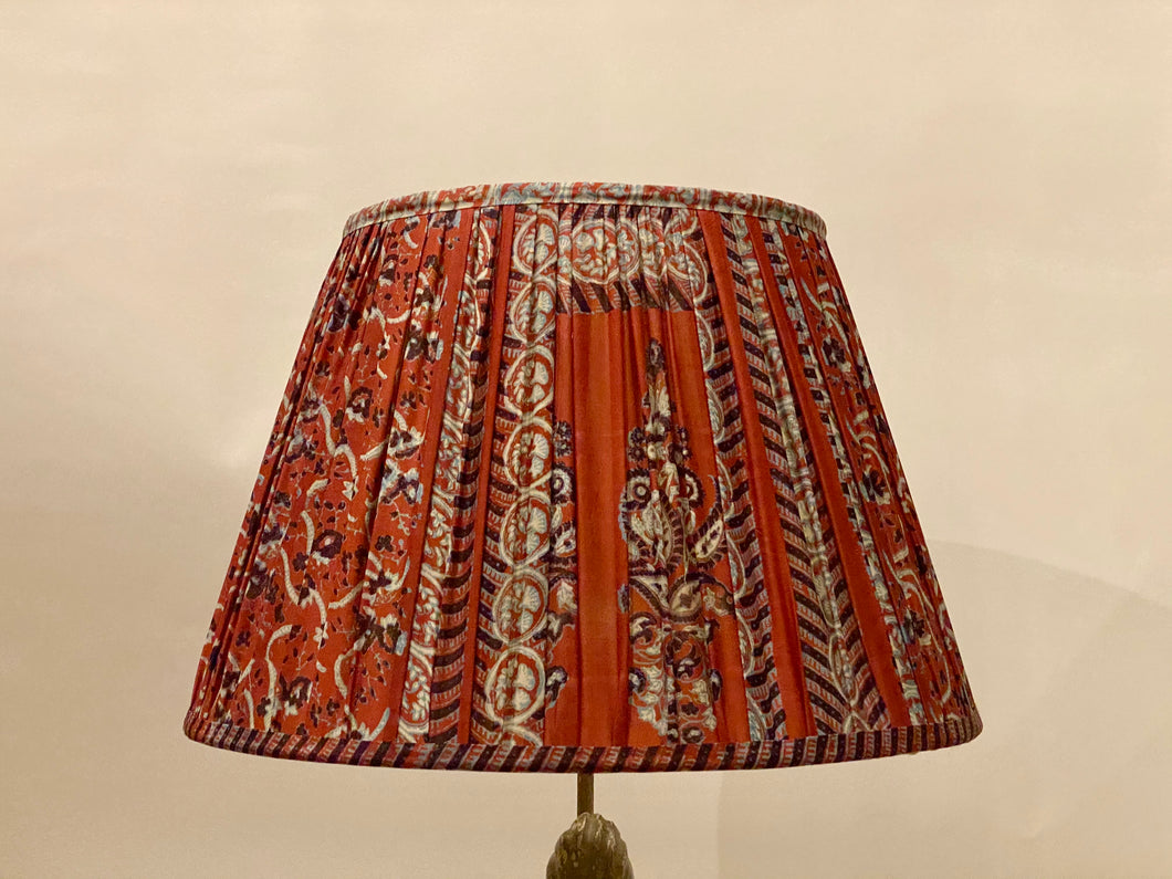 Raspberry and blue paisley with pallu silk lampshade