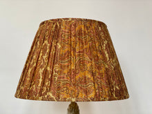 Load image into Gallery viewer, Pale Gold and pink paisley with pallu silk lampshade