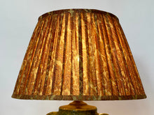 Load image into Gallery viewer, Pale gold with pink paisley silk lampshade