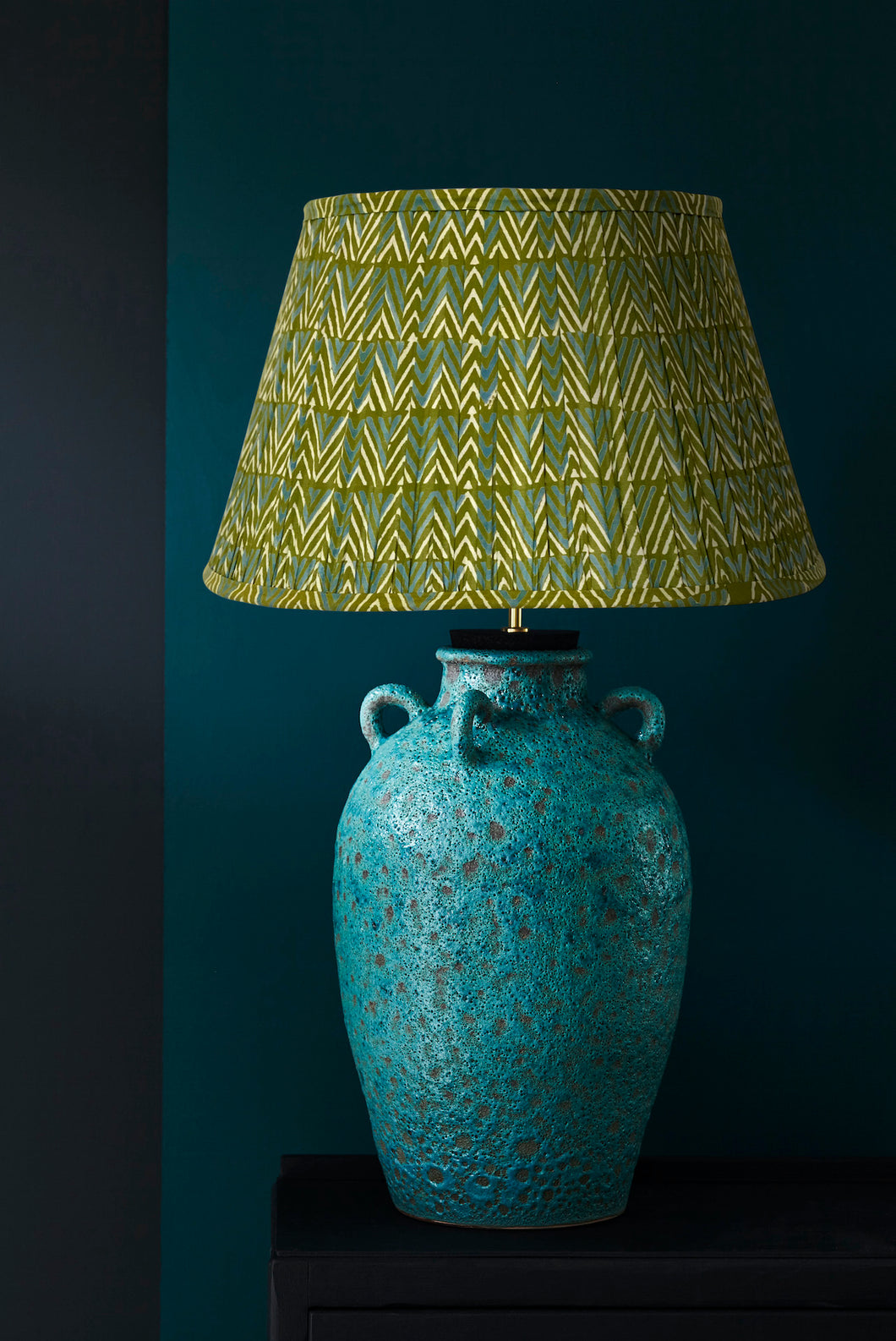 Keith Lamp and Green Blue Chevron lampshade
