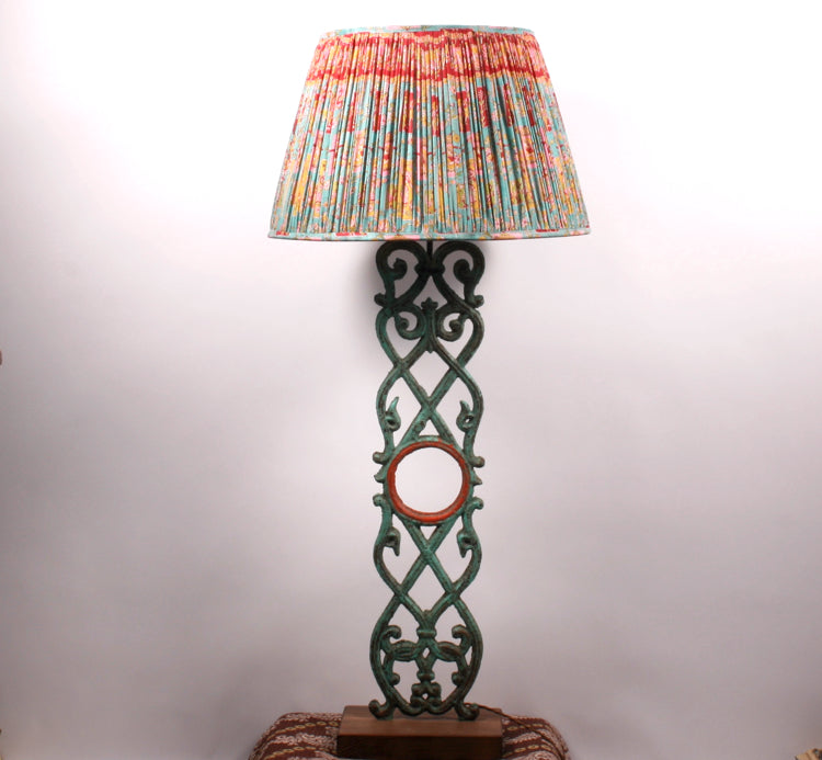 Wrought iron and teak vintage table lamp