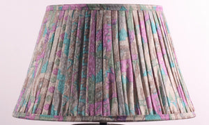 Aqua Lilac And Grey Silk Lampshade