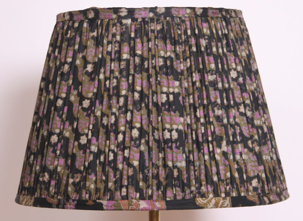 Navy Lilac And Olive Silk Lampshade
