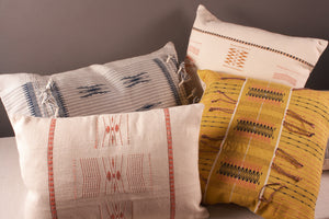 Acid yellow hand woven cushion