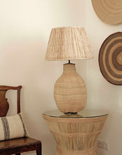 Load image into Gallery viewer, Big Baobab Lamp and Shibori Alleppey lampshade