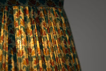 Load image into Gallery viewer, Teal and mint silk lampshade