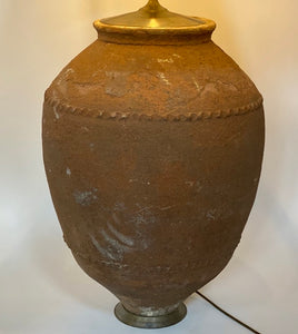 Very Large Turkish Terracotta Pot Lamp Base
