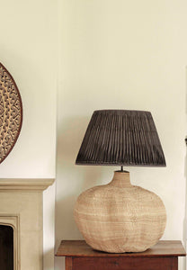 Giant Baobab Lamp and Charcoal Tussar Silk Lampshade