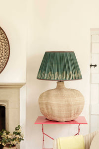 Giant Baobab Lamp and Teal Tussar Silk Lampshade