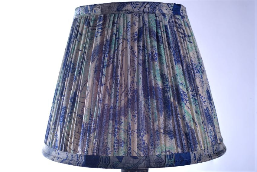 Royal blue and aqua silk saree lampshade