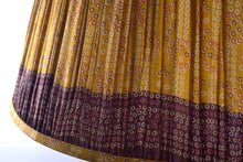 Load image into Gallery viewer, Golden yellow and aubergine Bandani silk lampshade