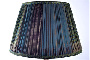 Green & Teal Geometric with pallu silk lampshade