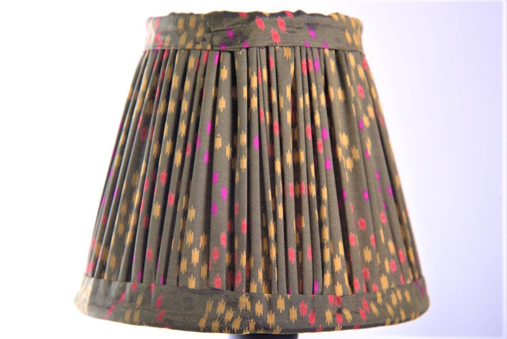 Green tiny ikat silk lampshade