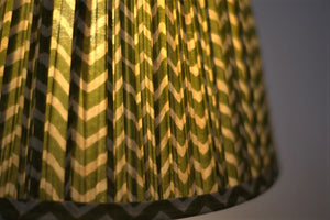 Green zigzag with bright pallu silk lampshade