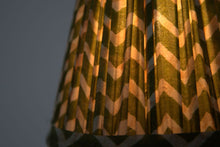 Load image into Gallery viewer, Green zig zag silk lampshde