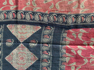 Pink and blue kantha