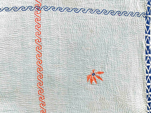 Blue and blonde kantha