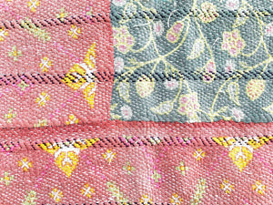 Pink and green kantha