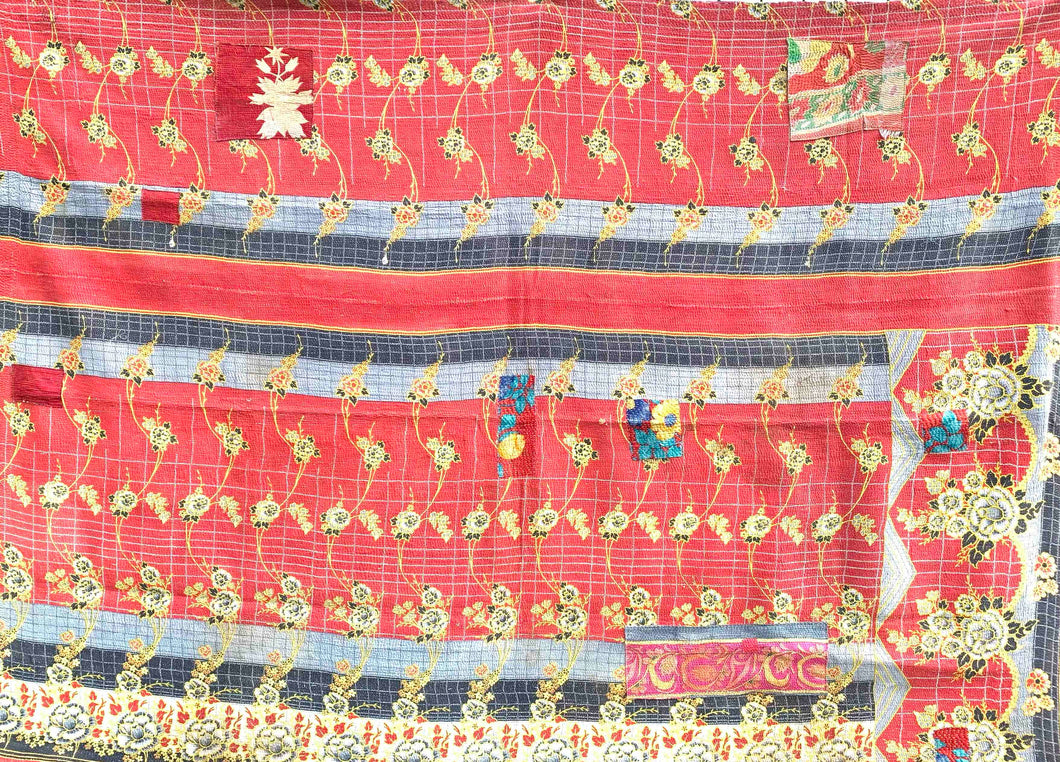 Red and blue floral kantha