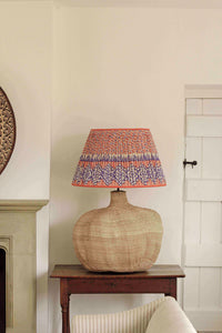 Giant Baobab Lamp and Orange and Royal Blue Silk Lampshade