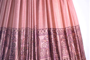Blush pink silk saree lampshade