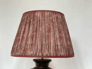 Pink and grey silk lampshade