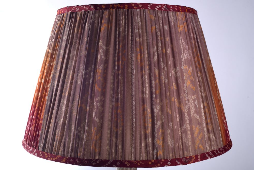 Red, orange and mushroom bandari silk lampshade