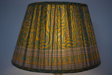 Load image into Gallery viewer, Saffron and emerald swirls silk lampshade
