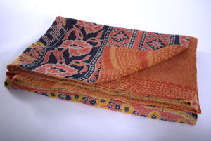 Salmon, navy and yellow kantha