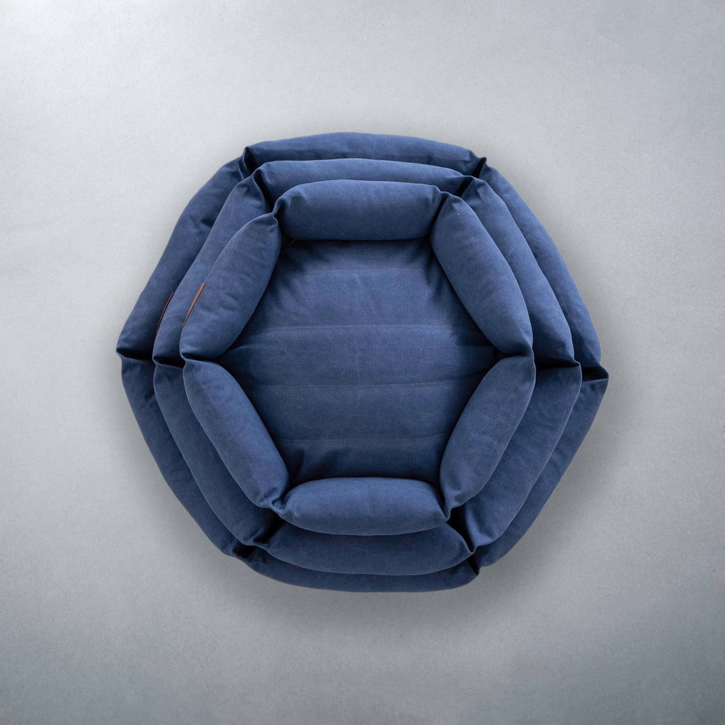 Canvas Hex Cushion in Ocean