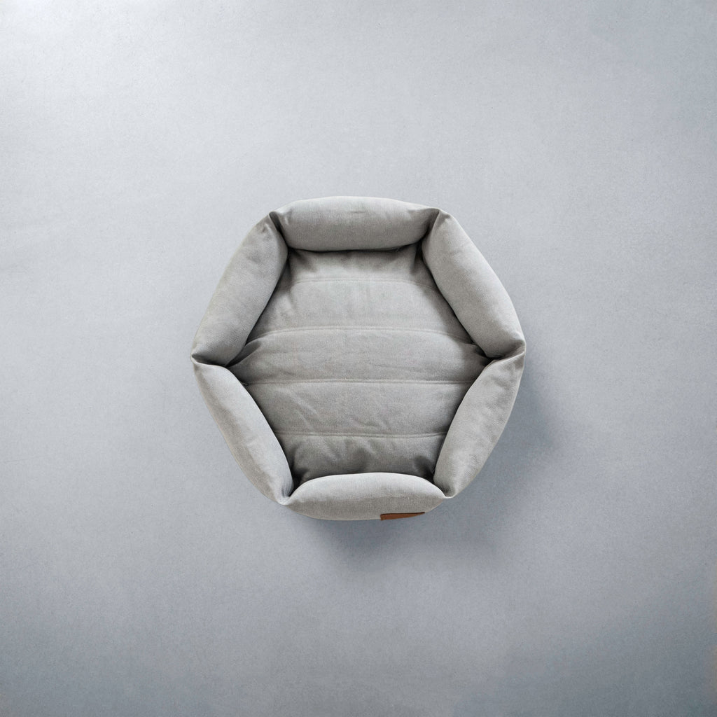 Canvas Hex Cushion in Stone