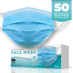 Case of 50 Disposable Face Masks - Adult size