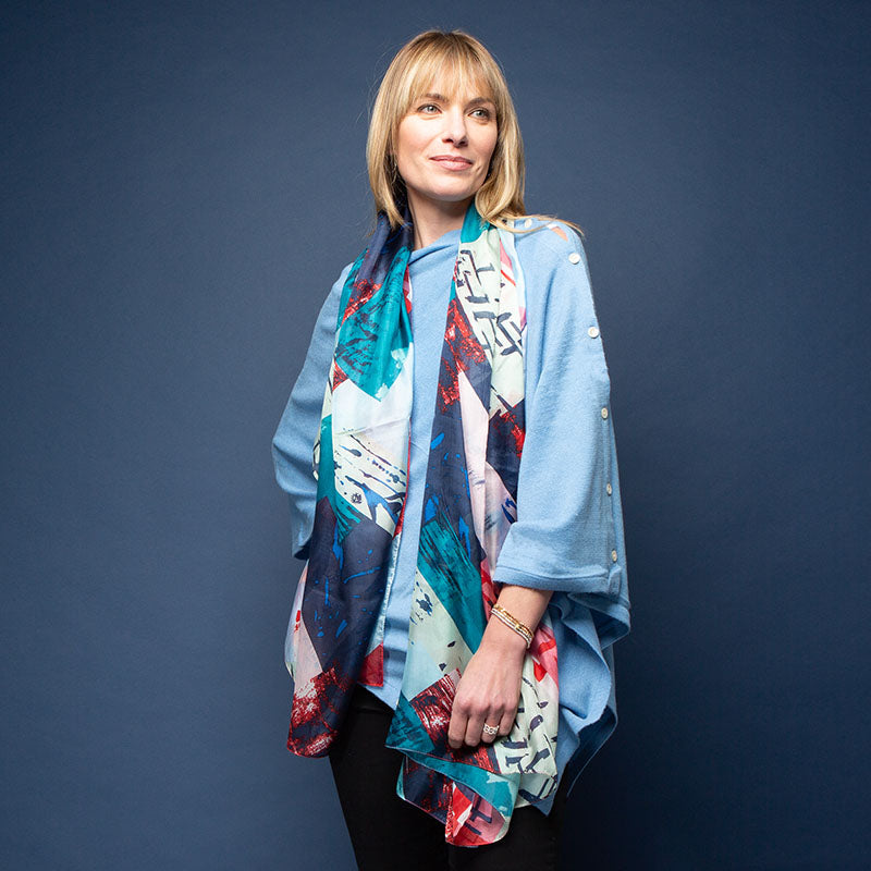Abstract Blue Silk Scarf