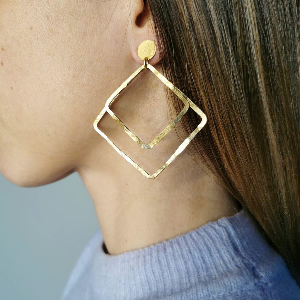 Aire Double Square Earrings Matte Gold