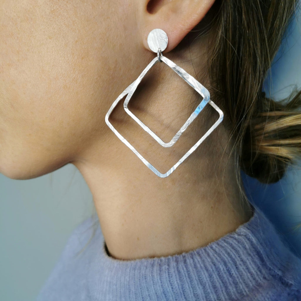 Aire Double Square Earrings Matte Silver
