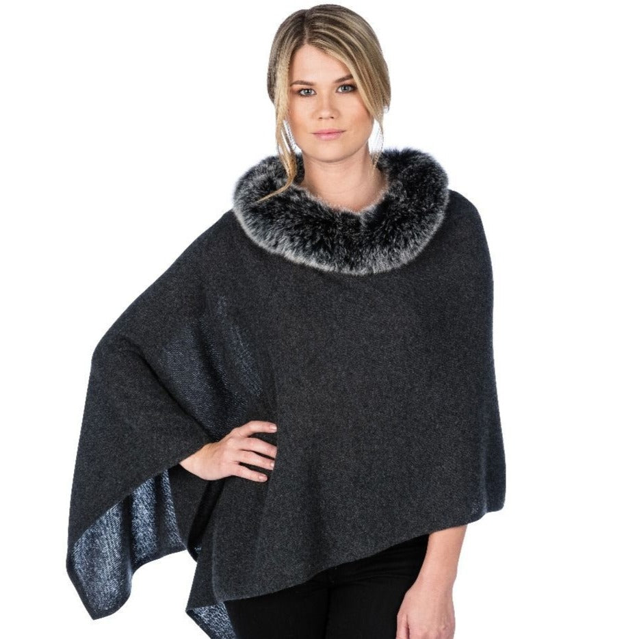 Alashan Windchill Fox Trim Topper Charcoal Grey with Frosted Black Fur
