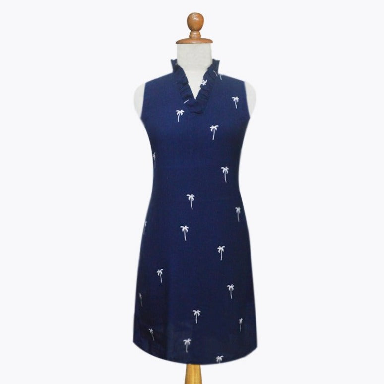 Augusta Dress Navy Palm Trees