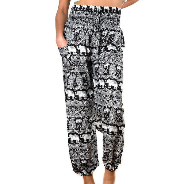Bali Pants Black Elephants
