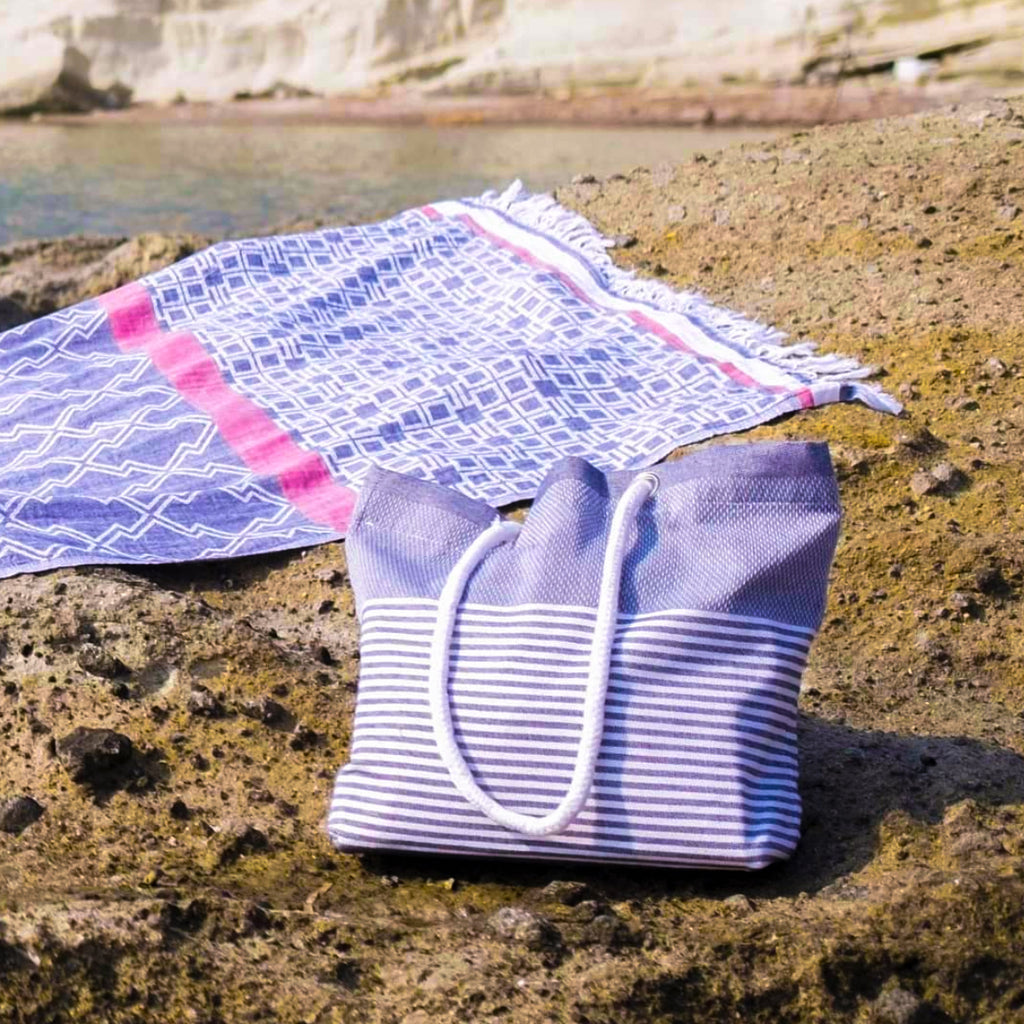 Barine Blue Stripe Beach Bag
