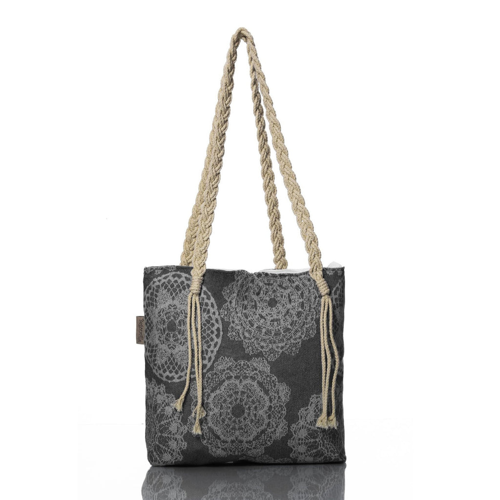 Charcoal Lace Beach Bag