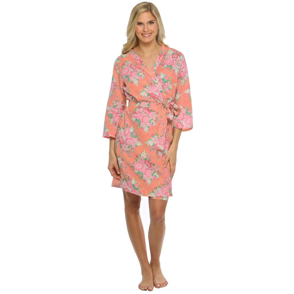 Peony Coral Floral Robe