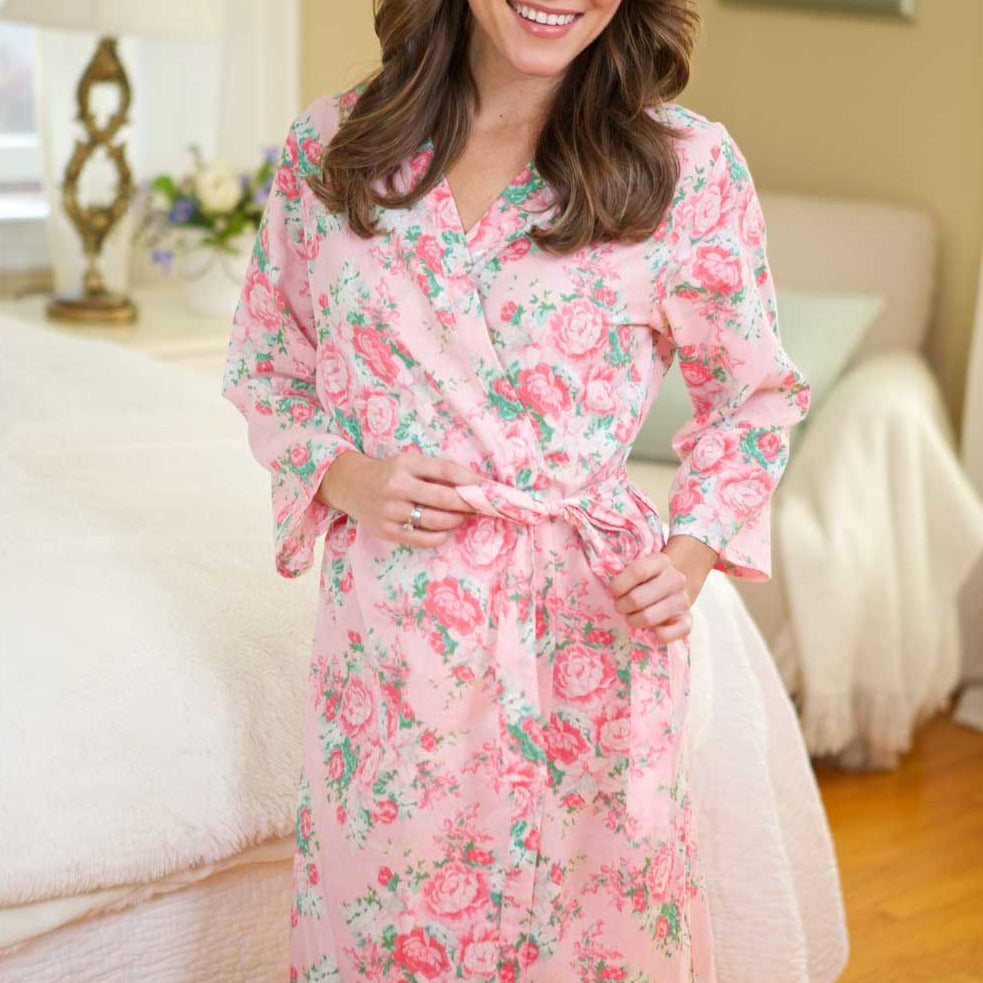 Peony Floral Robe Pink