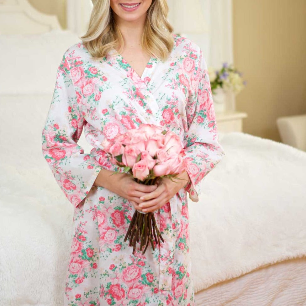 Peony Floral Robe White