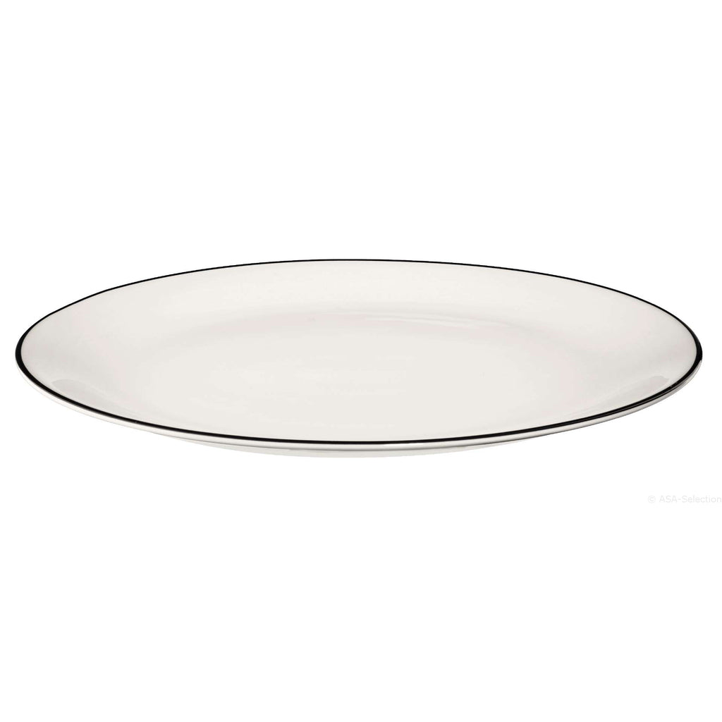 Dessert Plate White with Black Line