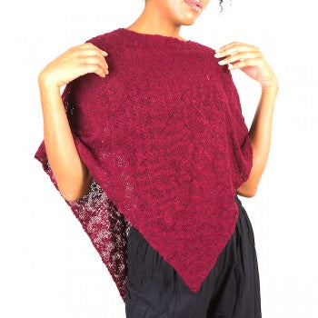 Double Knit Popcorn Poncho Claret Red
