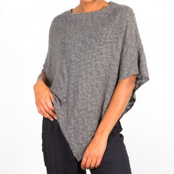Double Knit Popcorn Poncho Slate Grey