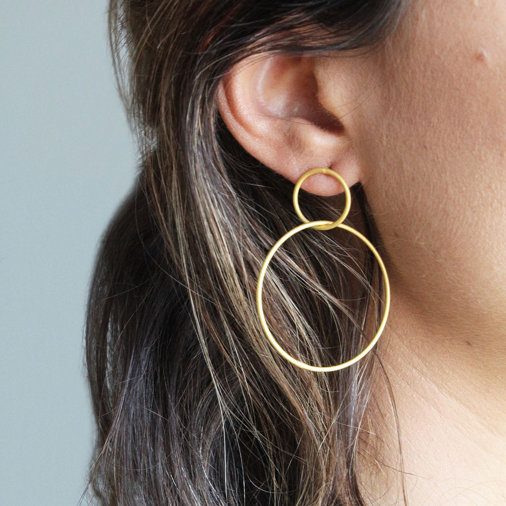 Essential Double Hoop Matte Gold Earrings