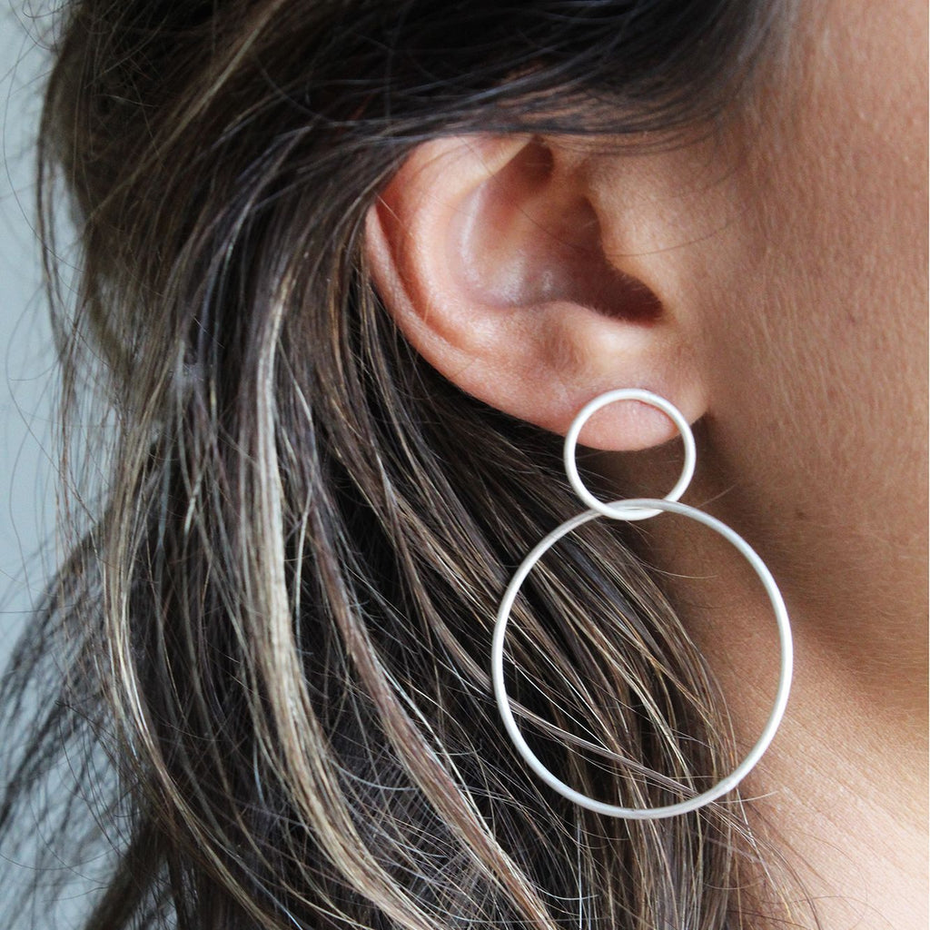 Essential Double Hoop Matte Silver Earrings