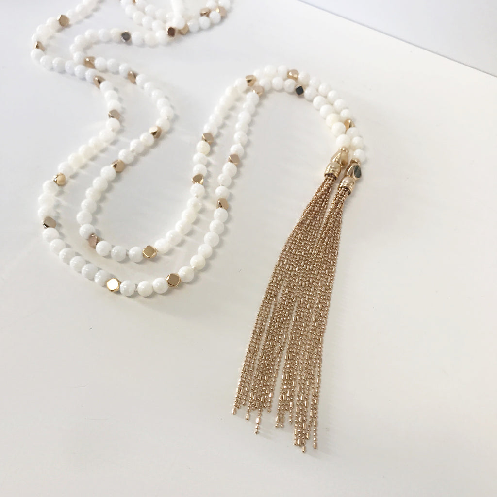 Fiona Gold White Necklace